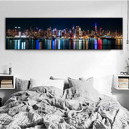 Skyline of Manhattan Canvas Art Prints Night View of New York Posters And Prints Canvas Painting for Bedroom Decor 50x185cm