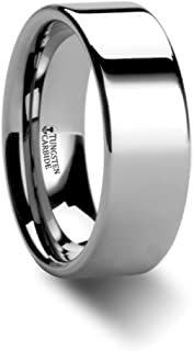 Thorsten Stockton Flat Pipe Cut White Tungsten Ring 8mm Wide Wedding Band from Roy Rose Jewelry Size 10