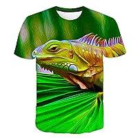 夏のファッション動物 3D Tシャツ Tシャツ 3D プリント Gecko カエルパターンシャツ少年と少女半袖 Tシャツ picture color17 9T