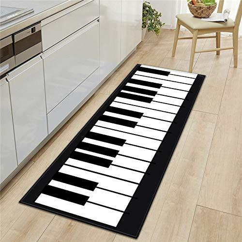 OPLJ Alfombrilla de Cocina con Estampado de Letras de Piano en 3D, alfombras de Cocina Modernas para Sala de Estar, baño, Alfombra nórdica, alfombras Antideslizantes Decorativas A11 40x60cm