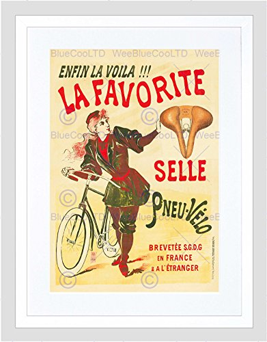 Wee Blue Coo Ad Viola Fietszadel Stoel Favoriete Vintage Bike Frankrijk Omlijst Muur Art Print
