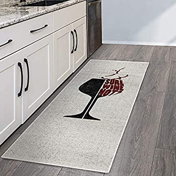 SussexHome Wine Bar Decor Floor Rug - Heavy-Duty Ultra-Thin Wine Cellar Runner Rug - Non Skid Washable 70 % Cotton Kitchen Runner Rug and Wine Kitchen Decor - 20 x 59 Inches