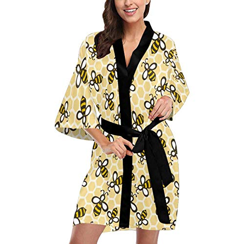 Custom Honey Bees Women Kimono Robes Beach Cover Up for Parties Wedding M