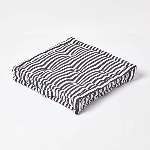 Homescapes dekoratives Sitzkissen Stuhlkissen Sitzerhöhung Stuhlauflage Stripes, schwarz/weiß, 40 x 40 cm, 100{f3aff87e1a718beed4f6d5f5fa6568eb3537bf2cbe50d4bbc028c7f45cd5d9c6} Reine Baumwolle mit Polyester Füllung
