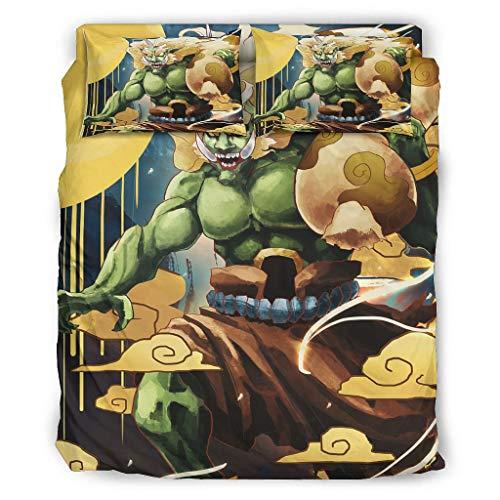 Wandlovers Juego de ropa de cama japonesa Oni Yokai Wolke Ukiyoe con impresión cómoda, funda nórdica y fundas de almohada, 228 x 228 cm, color blanco