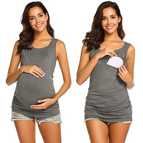 Unibelle Stilltops/Umstands T Shirt, Umstandstop Mit Stillfunktion Umstandsshirt luftig Mit Kurzarm Nursing stillen Schwangerschaft Top Umstandsmode