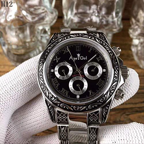 LKYH Klassische Armbanduhr Herren Automatische mechanische Schnitzuhr Saphir Rom Diamanten Zifferblatt Wasserdichter Edelstahl7