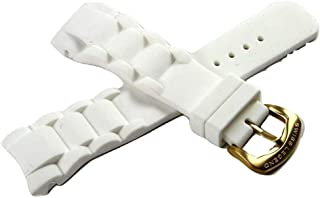 Swiss Legend 23MM White Silicone Watch Strap Stainless Gold-Tone Buckle fits 37mm Commander Watch