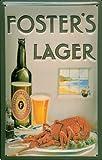 Generisch Fosters Foster's - Cartel de chapa con diseño de cerveza y lobster en relieve 3D, 20 x 30 cm, FBA