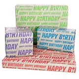 100% Recycled & Recyclable Eco-Friendly Happy Birthday Gift Wrapping Paper 8 XL Sheets With Gift Tags Designed & Printed In United Kingdom
