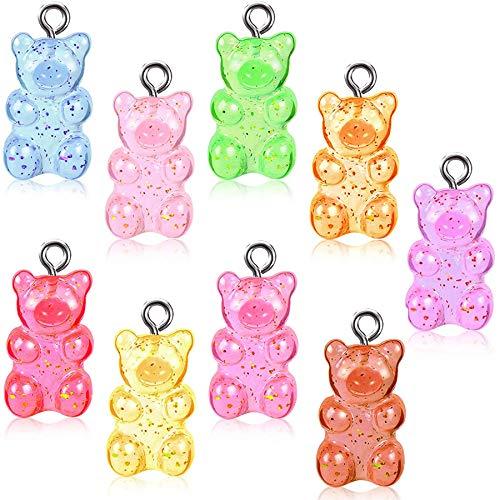 SANNIX 90Pcs Glitter Gummy Bear Charms Resin Candy Bear Pendants DIY Necklace for Children Girls, 9 Colors