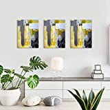 Canvas Wall Art for Living Room bathroom Bedroom, Abstract Wall Art Yellow Grey Canvas Prints Artwork Wall Decor 12'x16' inch/Piece, 3 Pieces Framed Ready to Hang Office Home Decorations