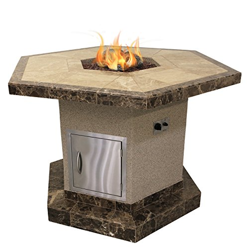 Affordable Cal Flame FPT-H1050T-1 Stucco and Tile Dining Height Square Propane Gas Fire Pit with Log...