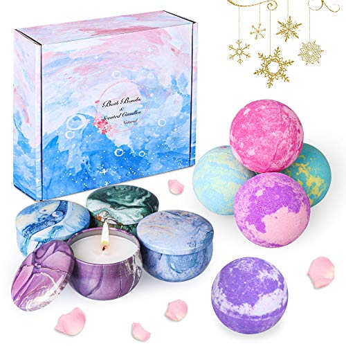 OBES Bath Bombs Gift Set for Women 5 pcs Fizzy Bath Bombs with 4pcs Scented Candles,Natural Essential Oils,Sea Salt and Shea Butter to Moisturize Dry Skin,Gift Ideas for Women,Lovers,Girlfriend
