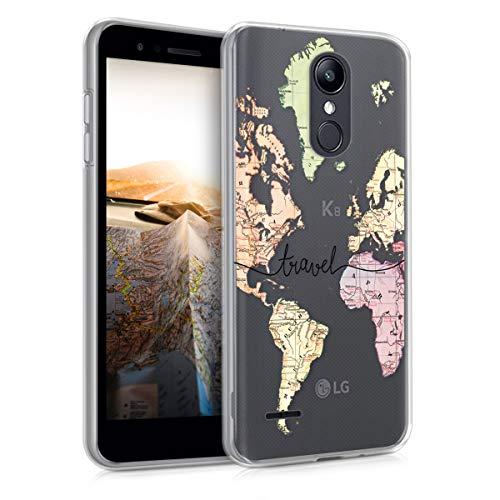 kwmobile Funda para LG K8 (2018) / K9 - Carcasa de TPU para móvil y diseño de Mapa Mundial en Negro Transparente