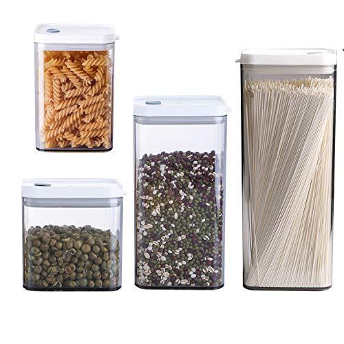 JSFC Contenedor de Almacenamiento con Tapa hermética Recipientes de Plástico 4 Piezas para Alimentos Se Mantiene Fresco y Puede Almacenar Cereales,Avena,Pasta,Galletas,Etc