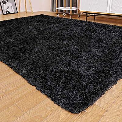 Ophanie Ultra Soft Fluffy Area Rugs for Living Room, Luxury Shag Rug Faux Fur Non-Slip Floor Carpet for Bedroom, Kids Room, Baby Room, Girls Room, and Nursery - Modern Home Decor, 4x5.3 Feet Black
