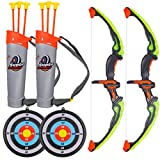 MorTime 2 Pack Bow and Arrow Set with LED Flash Lights,Green Light Up Archery Toy Set -Includes 6 Suction Cup Arrows, Practice Outdoor Toys for Kids (2 Pack)