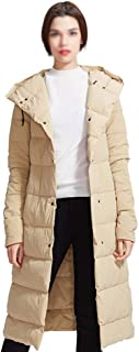 ZYDP Womens Fashion Hooded Down Jacket Knee-Length Button Down Puffer Coat Outwear Warm Winter Overcoat (Color : Beige, Size : M)