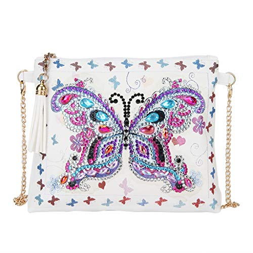 DIY 5D Diamond Painting Butterfly Crossbody Bag, LEKUKY Special Shaped Drill Cross Stitch Handbag Purse Tote Shoulder Bag Embroidery Kit Leather for Girl Women Adults Art Craft Decor