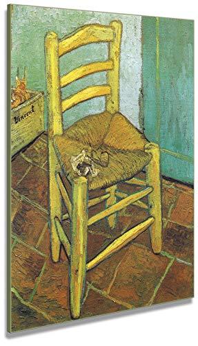 Artenòr - Cuadro Van Gogh La silla de Vincent 1888 - Impresión sobre lienzo enmarcado - 80 x 100 cm