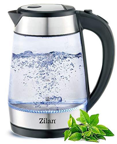 Edelstahl Glas Wasserkocher | 1,7 Liter | 2200W | Blaue LED-Beleuchtung | 360 Grad | Kalkfilter | BPA Frei | Kettle | Wasseraufbereiter | Wasserkessel | Teekocher |