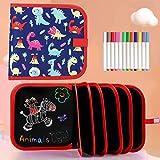 Tabla de Dibujo Portátil para Niños, Tablero de Dibujo de Graffiti, Bloc de Dibujo portátil borrable, Reutilizable,12 bolígrafos borrables de Color,14 Página (Dinosaur)