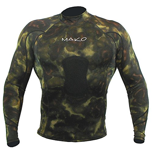 Wetsuit Shirt Spearfishing Green Camouflage Lycra Long Sleeve - 1.5mm (Large)