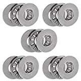 uxcell TC613 Thrust Needle Roller Bearings with Washers 3/8' Bore 13/16' OD 5/64' Width 5pcs