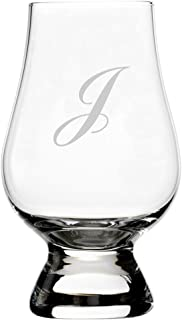 Commercial Script Etched Monogram Glencairn Crystal Whisky Glass (Letter J)