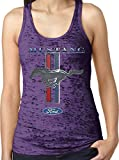 Amdesco Ladies Officially Licensed Ford Mustang Pony Emblem Burnout Racerback Tank Top, Purple Rush XL
