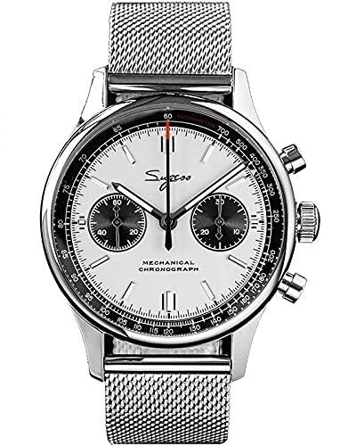 40MM oro cisne cuello Milán malla blanca Panda cronógrafo mecánico cronógrafo hombre reloj gaviota 1963 SUPANK031SN