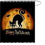 MAEZAP Herbst Halloween Schwarze Katze Duschvorhang Mond Geist Fledermaus Badezimmer Dekor Wasserdicht Polyester mit Haken 175 x 177 cm