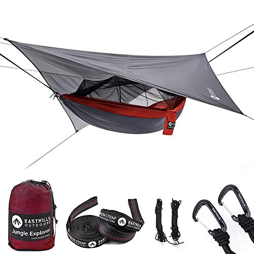 Easthills Outdoors Jungle Explorer Double Bug Net Camping Hammock Ripstop Parachute Nylon Camping & Outdoor Hammocks Tent with Waterproof Rainfly Tarp Red