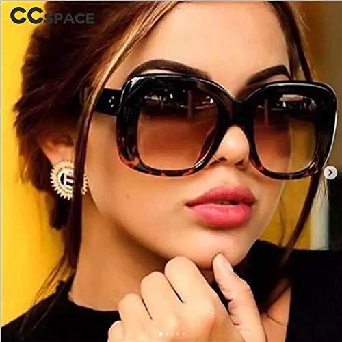 TEYUN 45805 Retro Big Frame Gafas de Sol Hombres Mujeres 2019 Sombras de Moda UV400 Vidrios Vintage (Color : B)