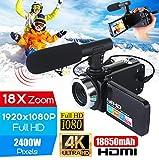 OUYAWEI Caméscope Professionnel 4K HD Caméra vidéo Vision Nocturne 3,0 Pouces LCD à écran Tactile caméra Zoom numérique 18x avec Microphone Ensemble caméra + Microphone Accessoires électroniques