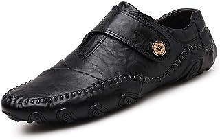 LIXIAOLAN - Scarpe da ginnastica da uomo in pelle casual, traspiranti, alla moda, colore: Nero/Marrone, Nero, 46