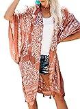 Sidefeel Women Print Pom Pom Tassel Kimono Beach Cover Up Long Cardigan One Size Brown
