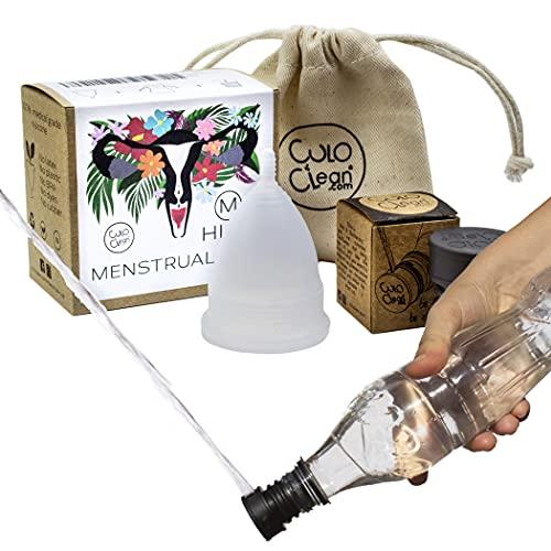 CuloClean Menstrual Cup Higo (M). Copa íntima talla M + bolsa + bidé portátil. Pack natural, de silicona médica suave, hipoalergénica y transparente.