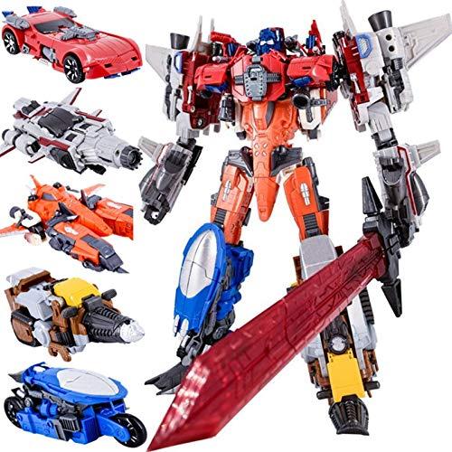 ZPNBKLS Juguetes de Transformadores, 6In 1 Nueva transformación Película 5 Juguetes Anime Devastator Robot Car KO G1 Figura de acción Modelo de avión,Regalo de Cumpleaños (Color : B)(C)