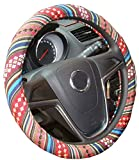Istn Medium Ethnic Style Coarse Flax Cloth Automotive Steering Wheel Cover Anti Slip and Sweat Absorption Auto Car Wrap Cover (14.5''-15'',D)