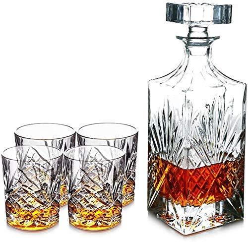 YZ-YUAN Juego de Regalo de Whisky de 5 Piezas, Vaso de Cristal sin Plomo con 4 Vasos de Whisky, 750 ml