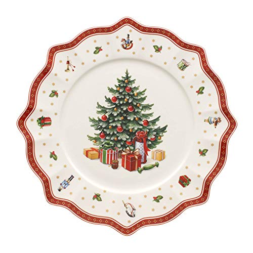 Villeroy & Boch Toy\'s Delight Platzteller, 35 cm, Premium Porzellan, Weiß/Rot