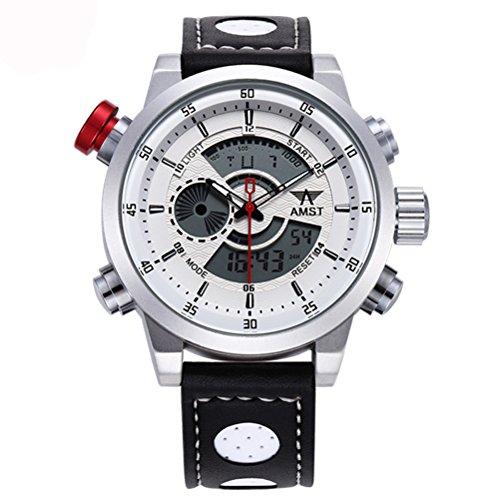 AMST Uhr-Männer der Art- und Weisemilitär-Doppelanzeige LED-Digital-Armbanduhren