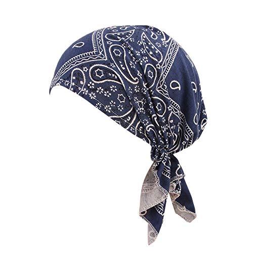 Lazzboy Kopftücher Frauen Rüschen Krebs Chemo Hut Mütze Schal Turban Kopf Wrap Cap Hat (C)