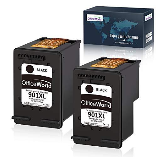 OfficeWorld Remanufactured HP 901 901XL Schwarz Druckerpatronen Hohe Kapazität Kompatibel mit HP Officejet 4500, HP Officejet J4580, HP Officejet J4680 J4524 (2 Schwarz)