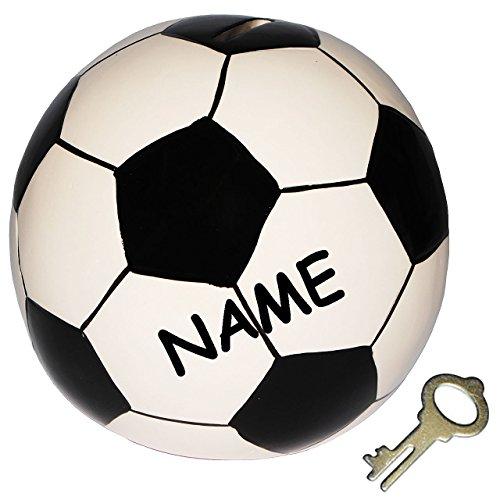alles-meine.de GmbH XL Spardose  Fußball / Ball  incl. Namen - stabile Sparbüchse mit Schlüssel - aus Porzellan / Keramik - Sparschwein lustig witzig - Bälle - Sport / Verein -..