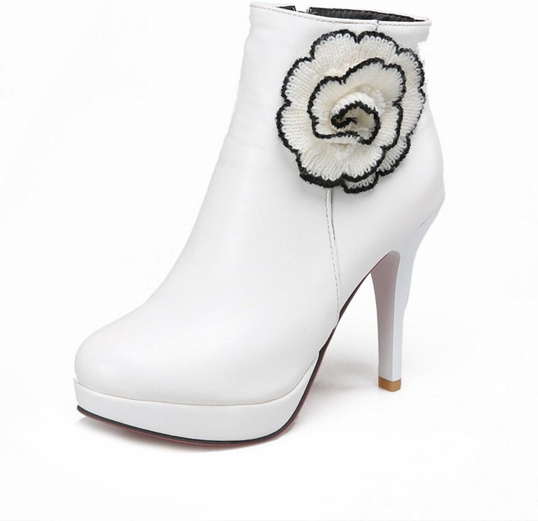 AdeeSu Womens Embroidered Fashion Cone-Shape Heel Round Toe Imitated Leather Boots