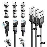 Cable de Carga Magnético 3 en 1,【Paquete de 3】(0.5M, 1M, 2M) Cable de Carga Del Teléfono Cable...