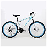26 Inch Double Disc Brake Mountain Cycling Bike Suburban Bicycle (white and blue)